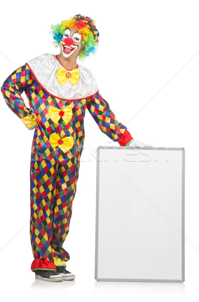 Clown with blank board on white Stock photo © Elnur