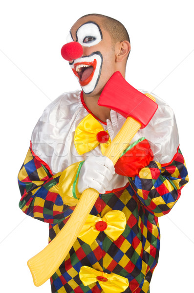 Stock photo: Clown with axe isolated on white