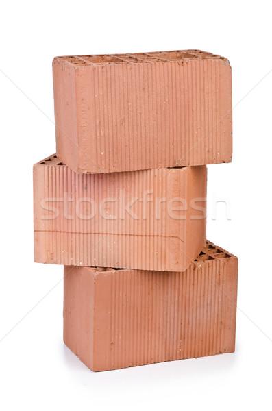 Stock fotó: Boglya · agyag · téglák · izolált · fehér · ház