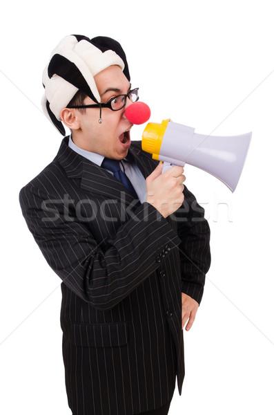Businessman clown with loudspeaker on white Stock photo © Elnur