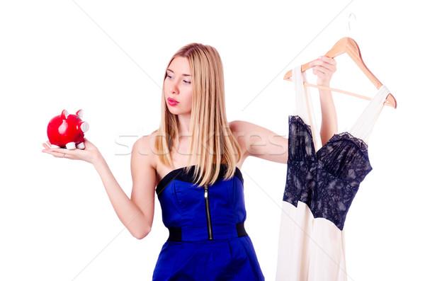 Stock fotó: Nő · gondolkodik · megtakarított · pénz · ruházat · mosoly · szoba