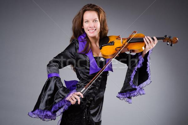 Stock fotó: Nő · művész · hegedű · zene · fa · koncert