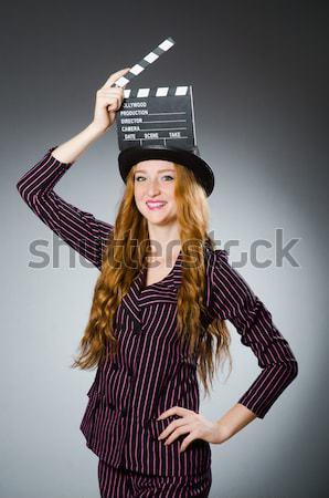 Vrouw gangster pistool geld model achtergrond Stockfoto © Elnur