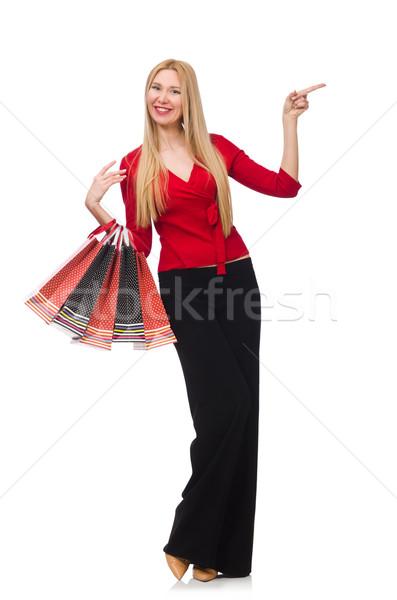 Jeune femme pants isolé blanche heureux mode Photo stock © Elnur