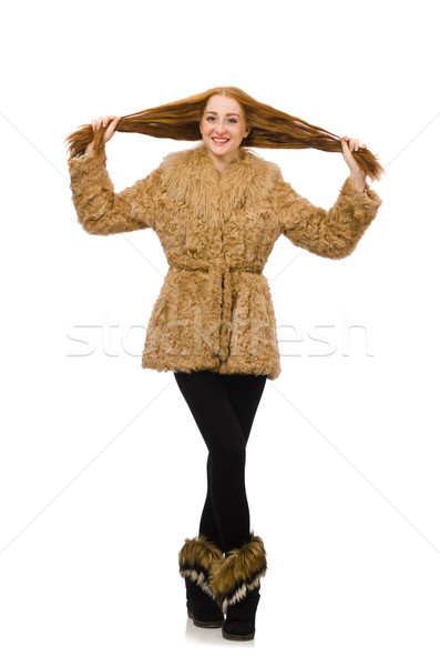 девушки шуба изолированный белый женщину Сток-фото © Elnur