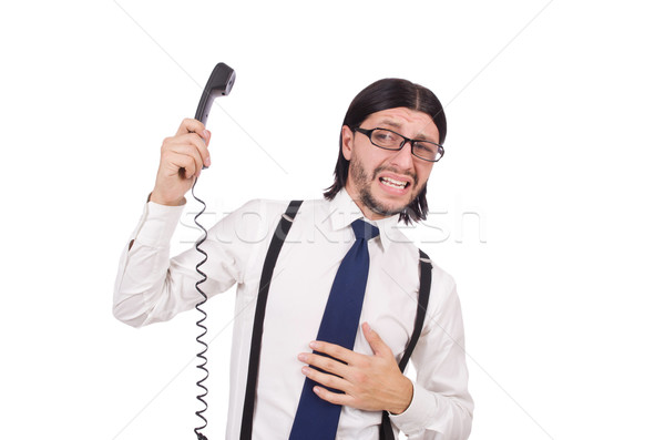 Businessman with phone isolated on white Stock photo © Elnur