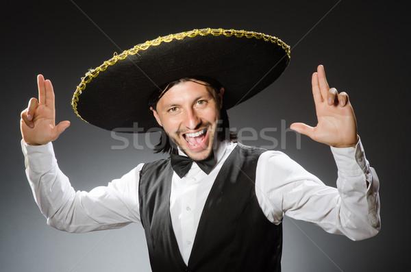 Meksika adam geniş kenarlı şapka yalıtılmış beyaz yüz Stok fotoğraf © Elnur