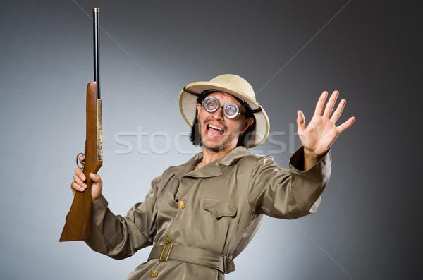 Drôle Safari chasseur homme jeu Photo stock © Elnur