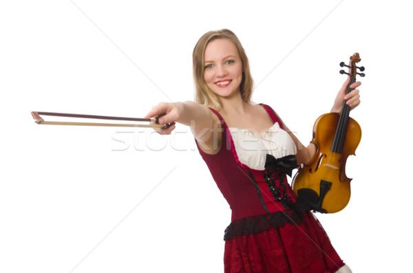 Stock fotó: Fiatal · hegedű · játékos · izolált · fehér · nő