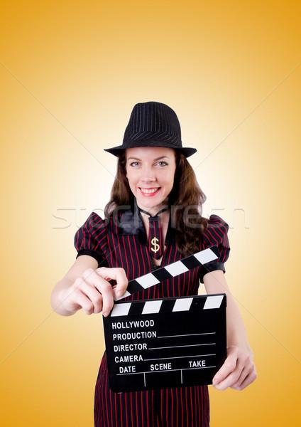 Kadın gangster film tahta beyaz güvenlik Stok fotoğraf © Elnur