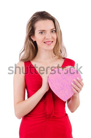 Woman in red dress with christmas gifts Stock photo © Elnur