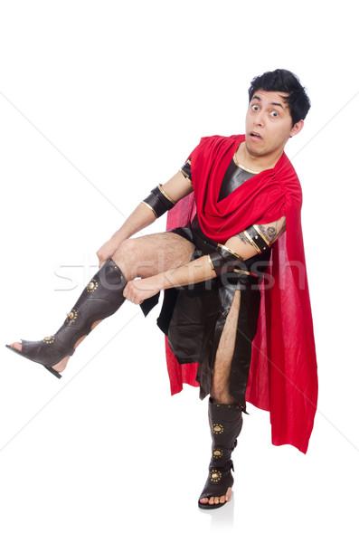 Gladiador isolado branco vermelho engraçado soldado Foto stock © Elnur
