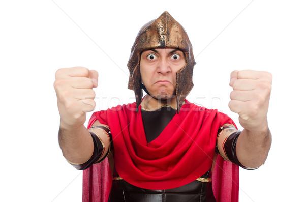Gladiator odizolowany biały czerwony funny żołnierz Zdjęcia stock © Elnur