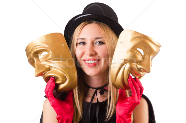 Woman with theater masks isolated on white Stock photo © Elnur