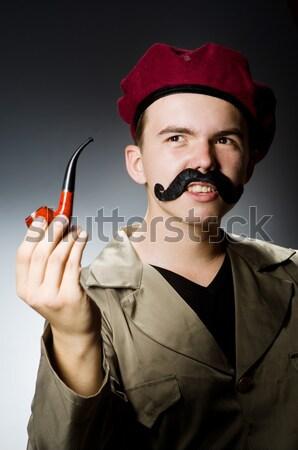 Denizci sigara içme boru yalıtılmış gülümseme adam Stok fotoğraf © Elnur