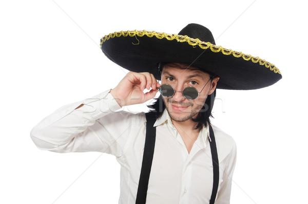 Mexican uomo indossare sombrero isolato bianco Foto d'archivio © Elnur