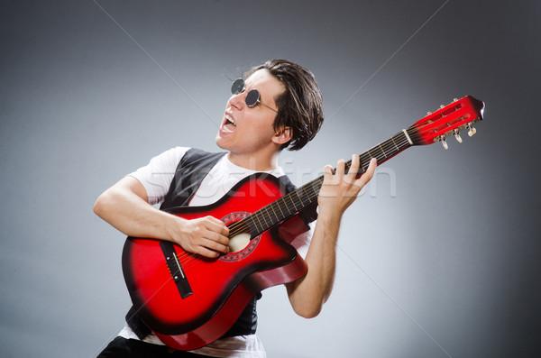 Engraçado guitarrista musical música guitarra discoteca Foto stock © Elnur