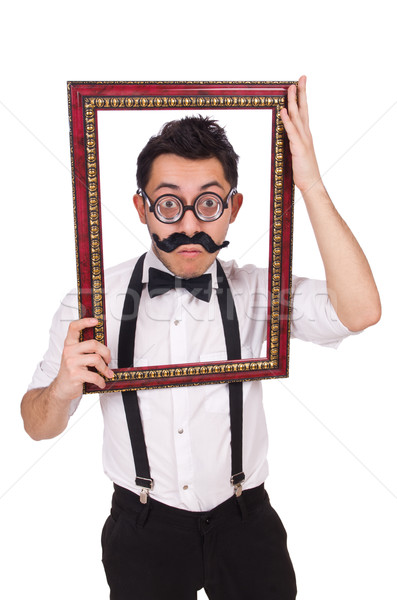 Young man with frame isolated on white Stock photo © Elnur