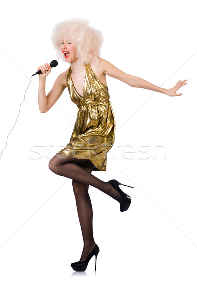 Cantante micrófono aislado blanco fondo belleza Foto stock © Elnur