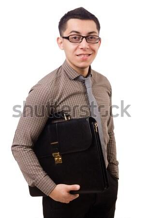 若い男 ブリーフケース 孤立した 白 ビジネス ストックフォト © Elnur