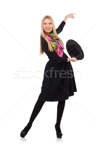 Kadın uzun siyah elbise yalıtılmış beyaz model Stok fotoğraf © Elnur