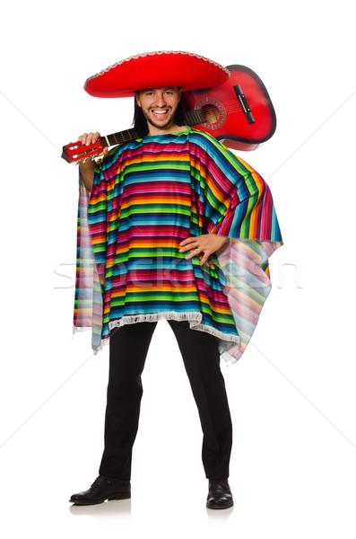 Stock fotó: Mexikói · élénk · tart · gitár · izolált · fehér