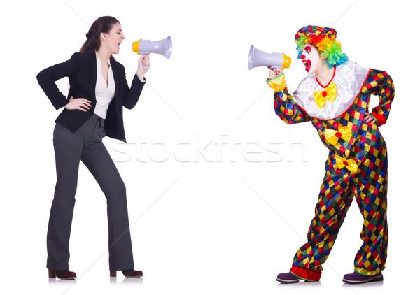 Clown kobieta interesu odizolowany biały działalności kobieta Zdjęcia stock © Elnur
