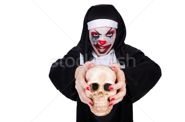 Scary Nonne Halloween Mädchen Tod Schädel Stock foto © Elnur
