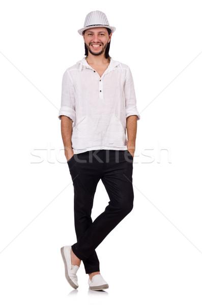 Moço seis isolado branco homem moda Foto stock © Elnur