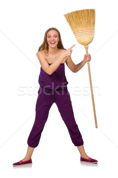 Ménagère balai isolé blanche femme cheveux Photo stock © Elnur