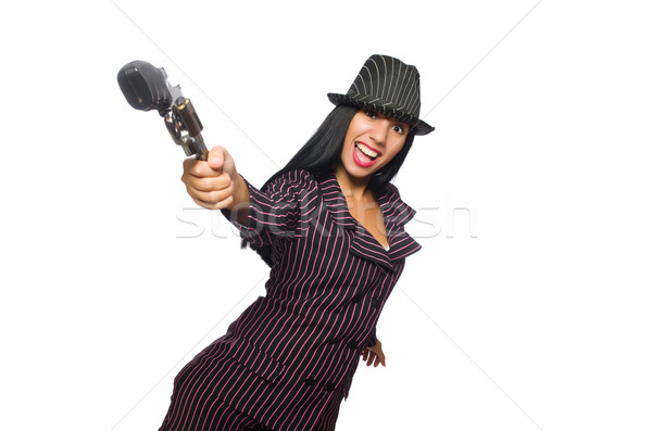 Gangster woman with gun isolated on white Stock photo © Elnur