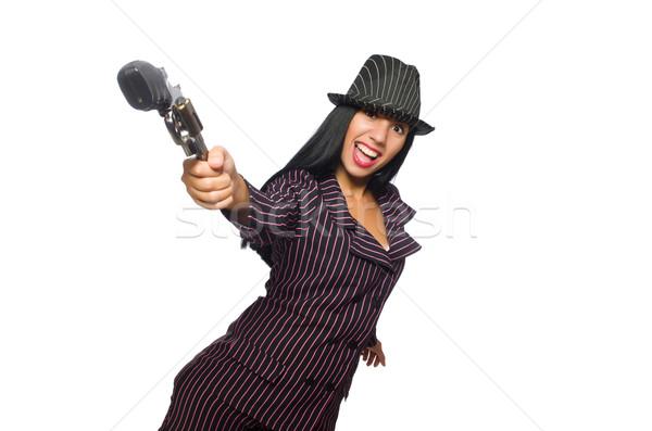 Gangster donna gun isolato bianco sexy Foto d'archivio © Elnur