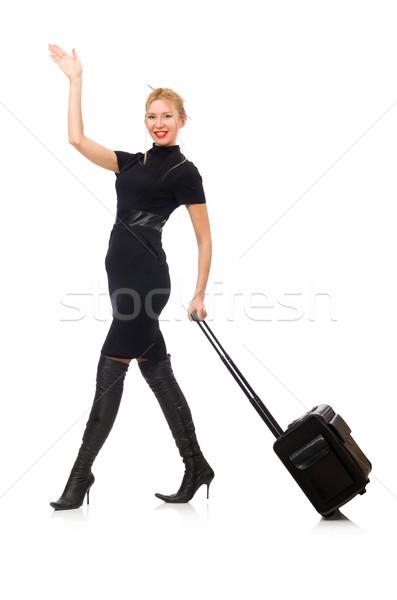 Mooie vrouw zakken geïsoleerd witte meisje gelukkig Stockfoto © Elnur