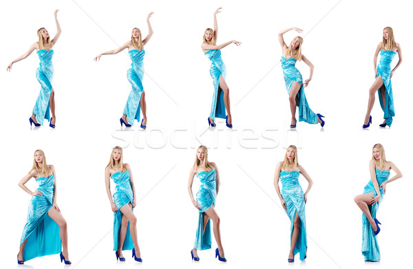Fashion concept with tall model on white Stock photo © Elnur