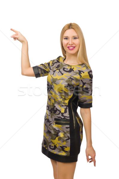кавказский девушки военных стиль платье изолированный Сток-фото © Elnur