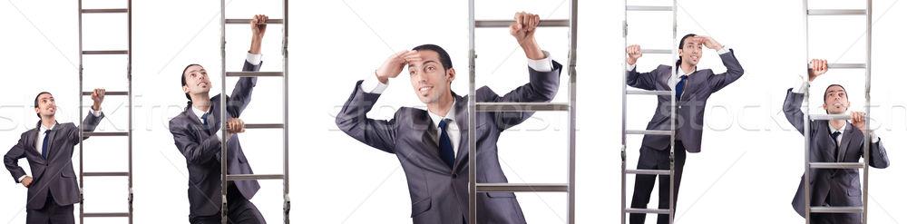 ストックフォト: ビジネスマン · 登山 · はしご · 孤立した · 白 · 男
