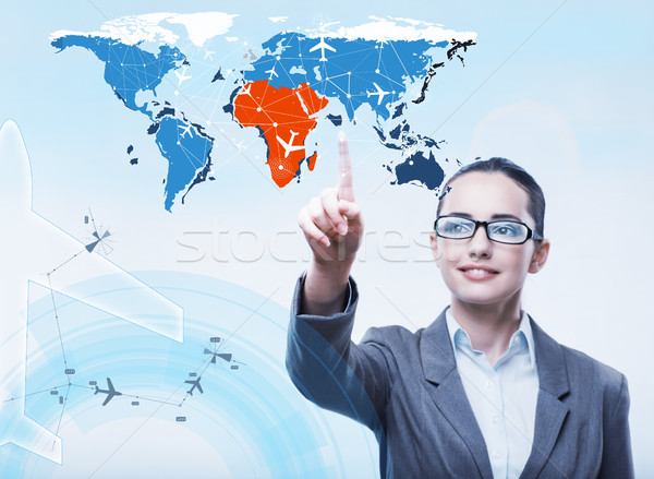 Businesswoman in air transportation concept Stock photo © Elnur