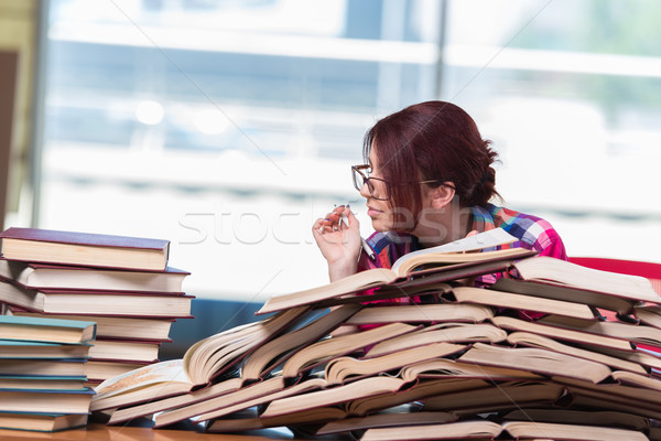 The young woman student preparing for college exams Stock photo © Elnur