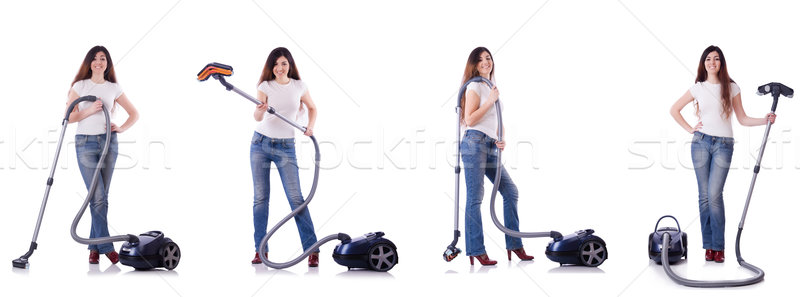 Collage of woman cleaning with vacuum cleaner Stock photo © Elnur