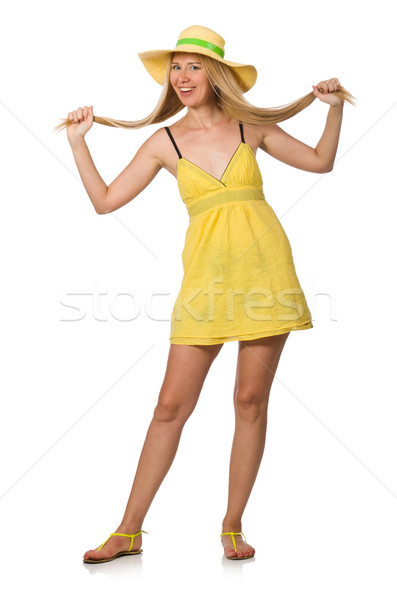 Caucasian fair model in yellow summer dress isolated on white Stock photo © Elnur