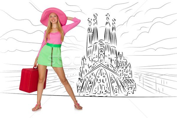 Stock fotó: Fiatal · nő · utazás · Spanyolország · lát · família · boldog