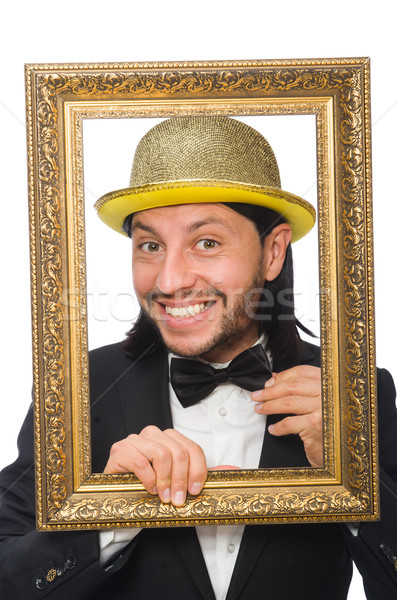 Man with golden hat isolated on white Stock photo © Elnur