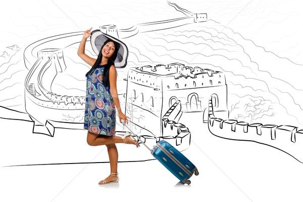 Fiatal nő utazás Kína lát Nagy Fal boldog Stock fotó © Elnur