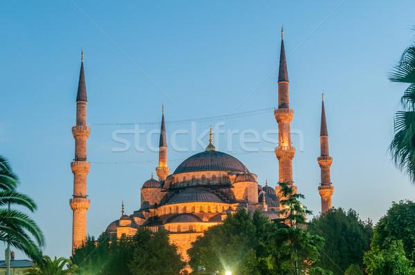 ünlü cami türk şehir İstanbul gün batımı Stok fotoğraf © Elnur