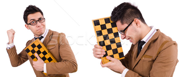 Funny chess player isolated on white Stock photo © Elnur