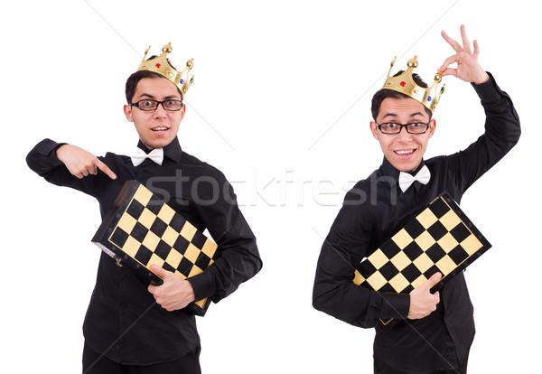 Engraçado xadrez jogador isolado branco tabela Foto stock © Elnur