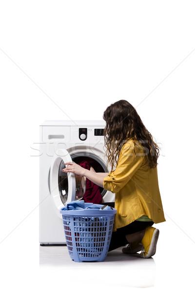 Sucia lavandería aislado blanco mujer Foto stock © Elnur