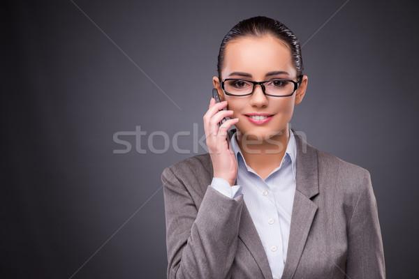 Kobieta interesu telefonu komórkowego działalności kobieta biuro pracy Zdjęcia stock © Elnur