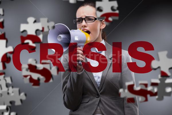 Donna altoparlante crisi soldi triste corporate Foto d'archivio © Elnur