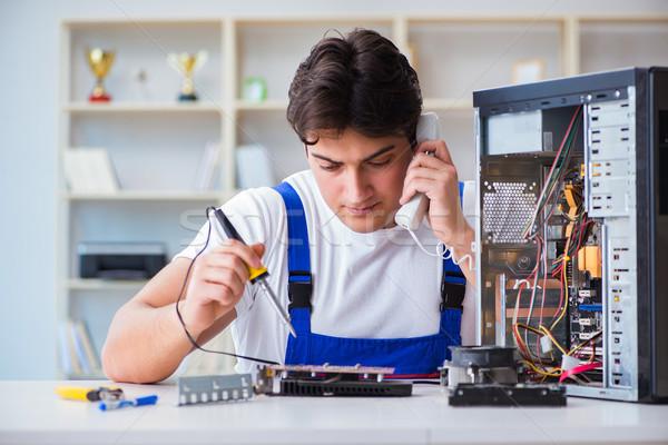 Foto stock: Computador · telefone · falante